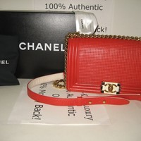 CHANEL Red Lambskin Leather Cruise 2014 Collection Medium Flap Cube Boy Bag Gold