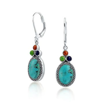 Multi Stones Turquoise Oval Lapis Dangle Earrings Sterling Silver