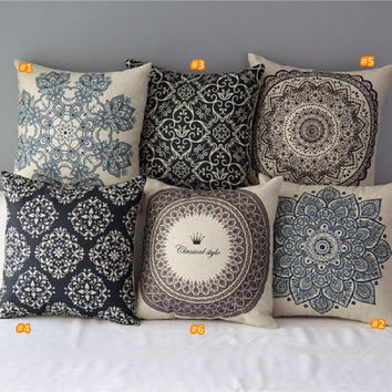 Vintage Floral Cotton Linen Throw Pillow Case Cover Bed Decorative Cushion Home Office Pillowcase Pillowslip Black and White