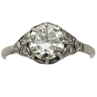 1.60 ct Diamond and 18 ct White Gold Engagement Ring - Antique Circa 1920