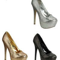 Glitter Platform Pumps High Heels in Gold Silver or Black | shoes heels high heel shoes trendy shoes stilettos