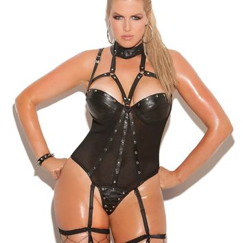 9a909232a03 Plus Size Leather and Fishnet Teddy with Thong Back