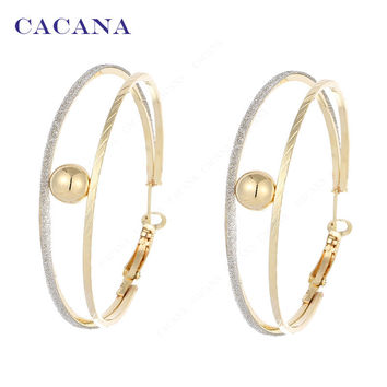 2 Ring Catch A Ball Long Hoop Earrings