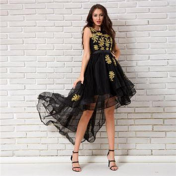 O-Neck Sleeveless Appliques Cocktail Dresses High And Low Length Party Short Formal Dress
