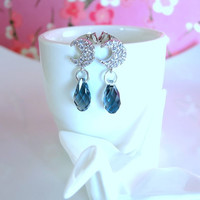 Blue crescent moon silver Swarovski crystal stud earrings, Midnight blue silver moon dangle earrings