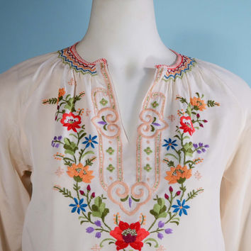 Vintage 40s Embroidered Silk Boho Peasant Blouse/ Bohemian Gypsy Hippie Croo Top/ Festival Nomad Chic TopS