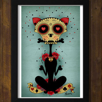 Chihuahua dog Day of the Dead PRINT of original by Ganbatte