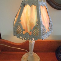 1930s Slag Glass Boudoir Lamp, Vintage Lighting