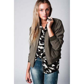 Khaki Slim Smart Bomber