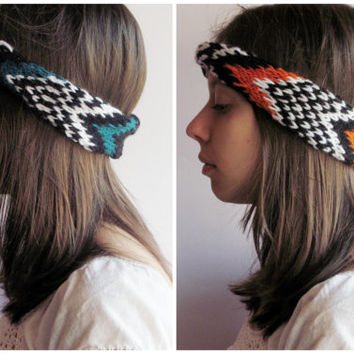 Headband / Headwrap Knitted with Bosnian Traditional Pattern for Women in Boho Style Turqouise and Orange - Handmade Ethnic