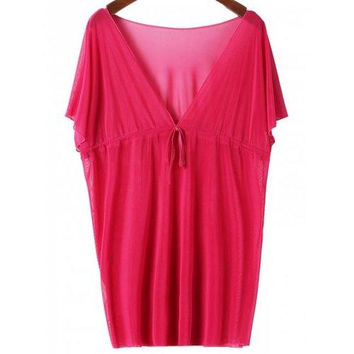 Sexy Plunging Neck Short Sleeve Lace-Up Solid Color Women's Cover Up