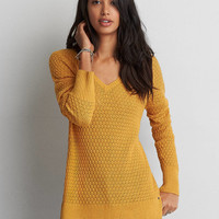 AEO Textured V-Neck Sweater , Mustard