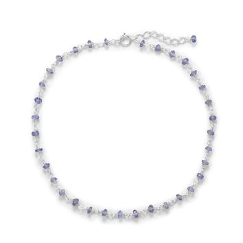 Sterling Silver Tanzanite Bead Anklet
