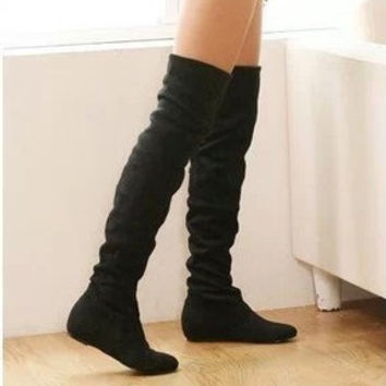 Size 34-43 Women Boots Winter Autumn Fashion Flat Bottom Boots Shoes Over The Knee High Leg Suede Long Boots Brand Designer