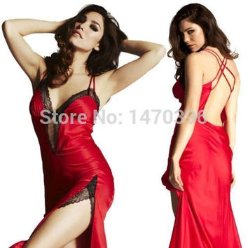 Women's Sexy Lingerie Lace Dress Underwear RED Babydoll Sleepwear Long Chemise