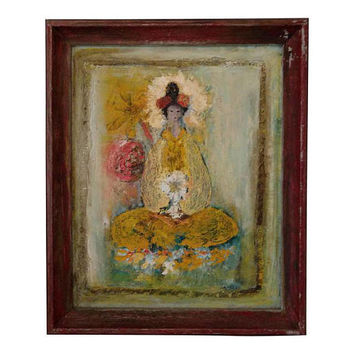 1960's Vintage Geisha Japanese Woman Sitting With Lantern Oil Painting