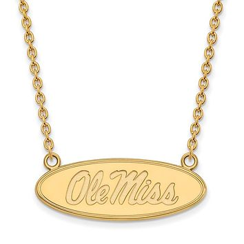 NCAA 10k Yellow Gold U of Mississippi Large Disc Pendant Necklace
