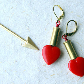 Red Heart Bullet Earrings - vintage glass heart beads - heart jewelry - Bullet Jewelry - Reclaimed - boho chic
