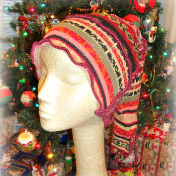 Snowboard Hat, Tribal Print Hat, Ski Hat, Upcycled Clothing, Boho Winter Hat, Hippie Hat,