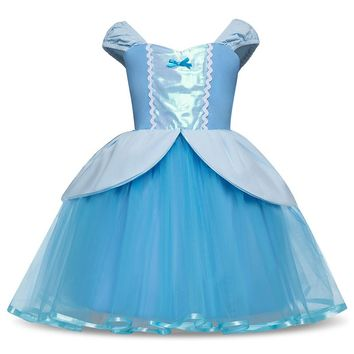 Cinderella Girls Cosplay Costume Kids Clothes Children Role-play Clothing Princess Dress Tutu Events Christmas Halloween Outfits