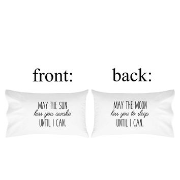 Oh, Susannah May the Sun Kiss You Awake Until I Can, May the Moon Kiss You to Sleep Until I Can Pillow Case - Fits Standard Pillow Insert (1 20x30 inch, Black) - Cute Girlfriends Gifts