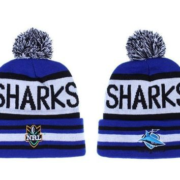 auguau Cronulla Sharks Beanies NRL Football Hat