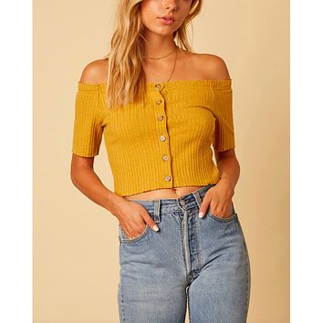 cotton candy la - button up knit off the shoulder crop top - mustard