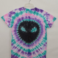 Alien Shirt Tie Dye Small Soft Grunge Pastel Hippie Trippy Psychedelic Womens Handmade Clothing Mens Unisex Black Turquoise Unique