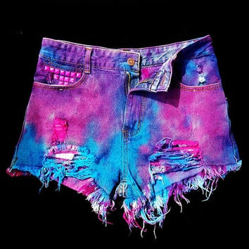 Psychedelic Tie-dye Gradient Rivet Denim Shorts = 5708530497