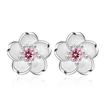 Cute 925 Sterling Silver Cherry Blossoms Flower Set Pink CZ Stud Earrings For Women Girls Kids Jewelry Orecchini Aros Aretes