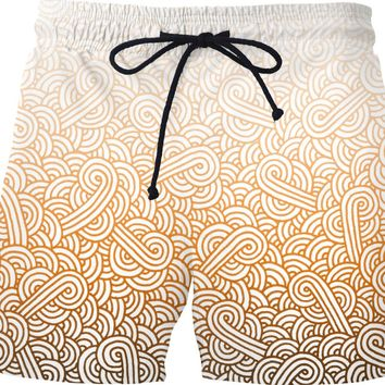 Gradient orange and white swirls doodles Swim Shorts