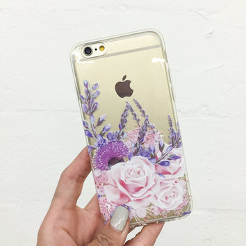 Purple Botanica - Clear TPU Case Cover