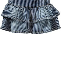 Ruffled Railroad-Stripe Denim Skirts for Baby