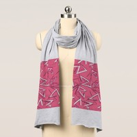 White and Black Zigzags on Pink Scarf