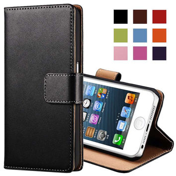 Genuine Leather Case for iPhone 5 5S SE Flip Stand Design Phone Back Cover Wallet with Card Slot Black Brown White