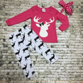 Reindeer Girls Long Sleeve Clothing Set with Headband
