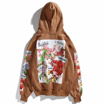 OFF-WHITE trend back floral print plus velvet hoodie Brown