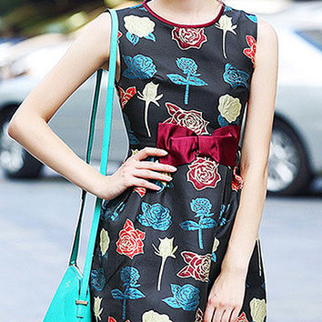 Black Sleeveless Bow Detailed Waist Mini Dress with Multicolored Rose Print