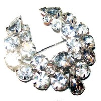 "Juliana Ice Rhinestone Brooch Swag Wreath D&E Confirmed Silver Metal 2"" Vintage"