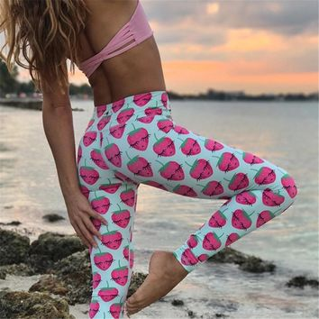 Funny Strawberry Print Leggings Women Workout Fitness Tights