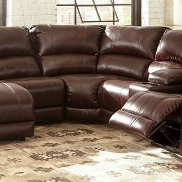 Ashley Furniture 60905-16-46-77-46-57-17 6 pc MacGrath collection mahogany durablend upholstered sectional sofa set with recliners and chaise