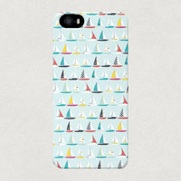 Nautical Sailing Boats Blue iPhone 4 4s 5 5s 5c Case