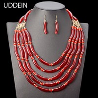 UDDEIN Nigerian Wedding Indian Necklace Sets Multi Layer Beads Necklace For Women Bohemian Statement Choker African Jewelry Set