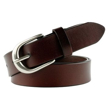 Leather Waist Belt for Women with Classic Polished Alloy Buckle Pants Size Up to 44""