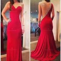 Dress: 2014 prom es long prom es sexy prom beading prom sexy evening es red mermaid prom es special