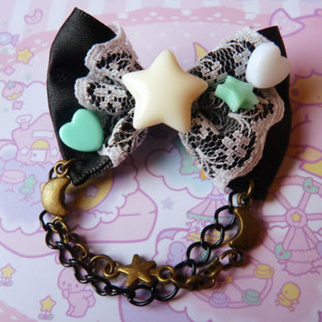 Black and Mint Pastel Cream Stars Bow Hair Clip