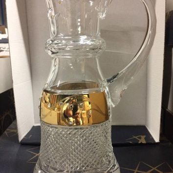 Czech bohemia crystal glass - Cut royal pitcher decorated double gold