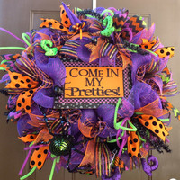 Halloween Wreath - Halloween Deco Mesh Wreath - Halloween Witch Hat and Legs Deco Mesh Wreath - Witch Mesh Wreath - Halloween Decor