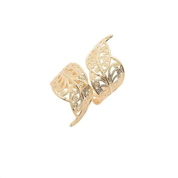 Gold Plated Double Leaf Adjustable Statement Ring