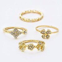 CRYSTAL BUTTERFLY & FLOWER RINGS SET